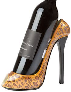Shoe Shaped Leopard Print Wine Bottle Holder