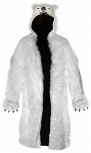 polar bear long hooded costume jacket. Black Bedroom Furniture Sets. Home Design Ideas