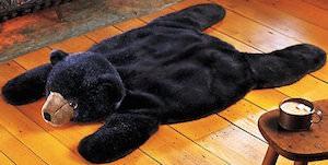 Plush Black Bear Rug for the kids room