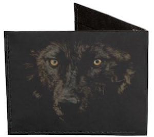 Black Gazing Wolf Wallet