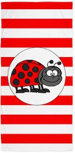 Cute Ladybug Beach Towel With Red And White Stripes