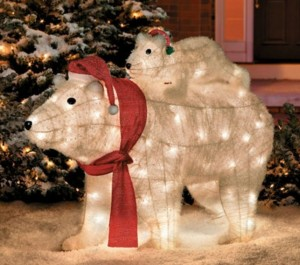 Polar bear lighted lawn ornament polar bear mommy and baby lighted lawn ornament aloadofball Image collections