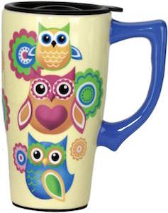 Stack Of Owls Ceramic Travel Mug