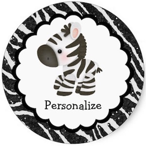 Round Personalized Zebra Stickers