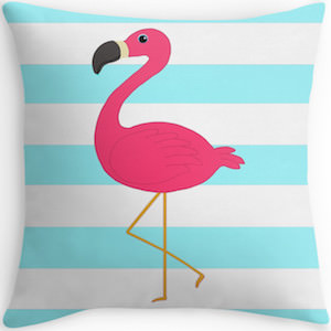 Pink Flamingo Striped Pillow