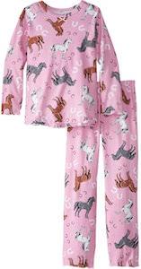 Girls Pink Horse Pajama Set