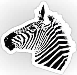Die Cut Zebra Head Sticker