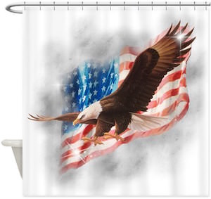 Bald Eagle And The American Flag Shower Curtain