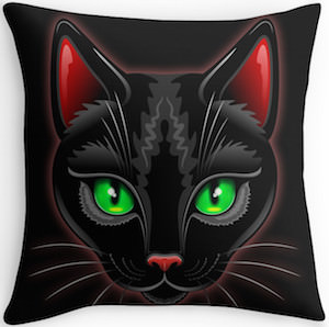 Black Cat Portrait Throw Pillow