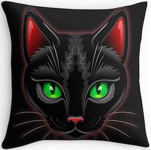 Black Cat Portrait Pillow