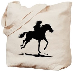 Tote Bag With A Girl Riding A Horse