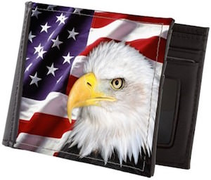 Bald eagle USA flag wallet
