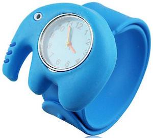 Blue Kids Elephant Watch with a snap bracelet