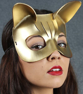 Gold Color Leather Kitten Mask