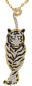 Tiger Pendant Necklace With Rhinestones