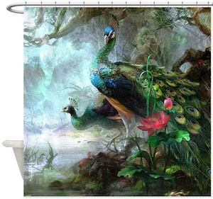 Two Peacocks By The River Shower Curtain