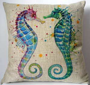 Seahorse Watercolor Throw Pillow