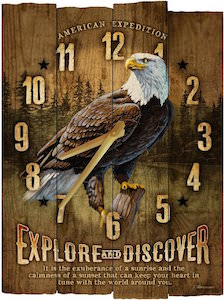 Wooden clock with a image of a bald eagle