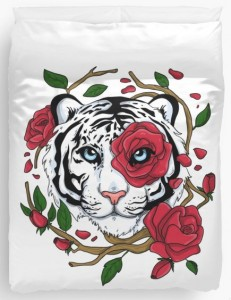 White Tiger And Red Roses Duvet Cover