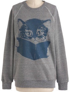 Women's Reading Cat Sweater