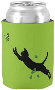 Cat Chasing Butterfly Can Koozie