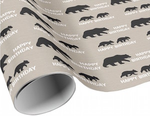 Grizzly Bear Happy Birthday Gift wrap