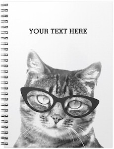Cat Wearing Glasses Notebook