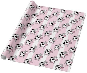 Pink and White Striped Cow Wrapping Paper