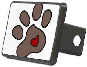 Paw Print Heart Hitch Cover
