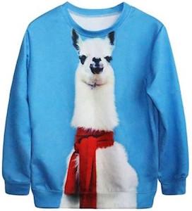 Women's llama Christmas sweater