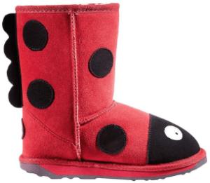 Kids Ladybug Plush Boots