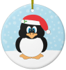 Penguin In Santa Hat Christmas Ornament