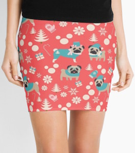 Christmas Pug Pencil Skirt