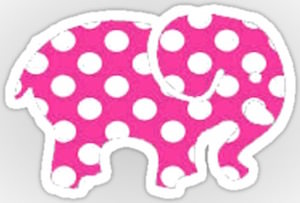 Pink Polka Dot Elephant Sticker