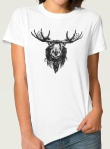 Black Moose Head Portrait T-Shirt