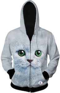 White Cat Face Hoodie