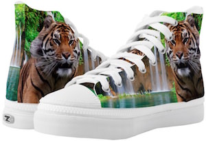 Tiger And A Waterfall High Top Sneakers