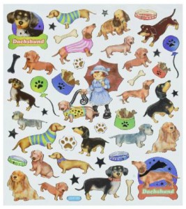 Many Colorful Dachshund Stickers Page