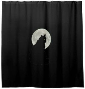 Black Cat Moon Shower Curtain