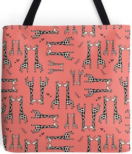 Red Giraffe Tote Bag