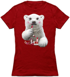 Polar Bear Wearing Lipstick T-Shirt