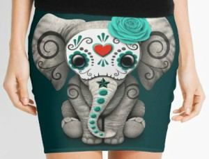 Sugar Skull Elephant Pencil Skirt