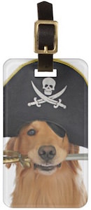 Pirate Golden Retriever Luggage Tag