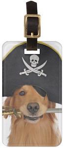 Pirate Golden Retriever Luggage Tag