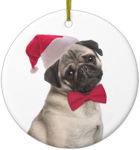 Ceramic Pug Christmas Ornament