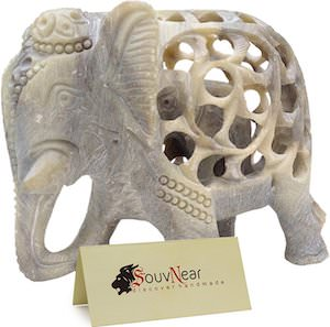 Stone Carved Elephant Figurine