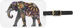 Elephant Flowery Luggage Tag