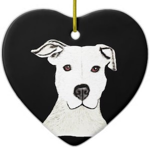 Pit Bull Ceramic Christmas Ornament