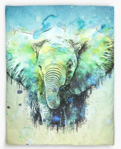 Elephant Abstract Watercolor Duvet Cover