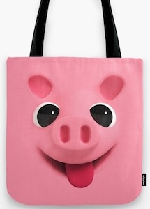 Pink Face Of A Pig Tote Bag